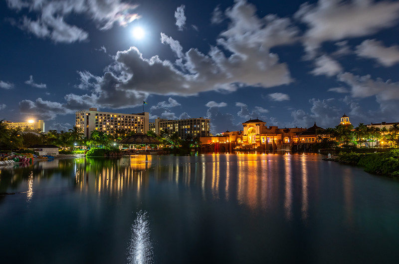 Full Moon Rising Over Atlantis Resort, Nassau, Bahamas 7/18/19