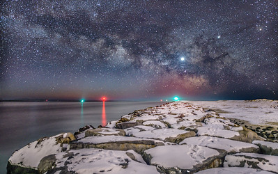 The Milky Way Over Snow-Covered Rock Jetty at Barnegat Light 2/3/19