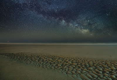 The Milky Way Rising Over Ripples In The Sand On Avalon Beach 3/13/19