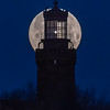 """The Super """"Snow"""" Full Moon Setting Behind The Twin Lights Lighthouse 2/19/19"""