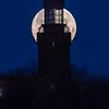 "The Super ""Snow"" Full Moon Setting Behind The Twin Lights Lighthouse 2/19/19"