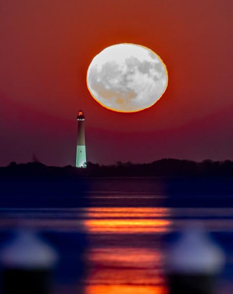 The Full Hunter Moon Rising Behind The Barnegat Lighthouse 10/14/19