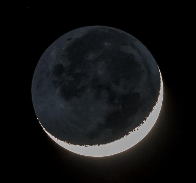 Waxing Crescent Moon with Earthshine 1/30/17