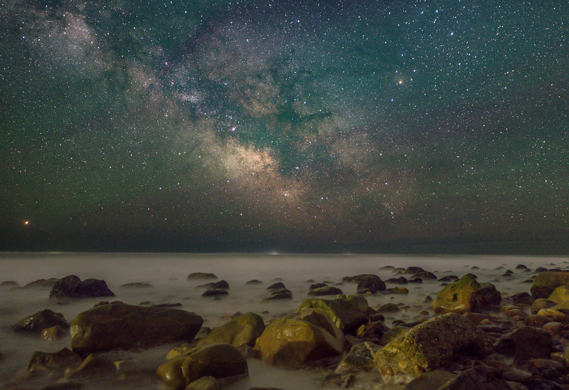 The Milky Way With Airglow Rising Over The Rocky Beach in Montauk, NY 5/20/20