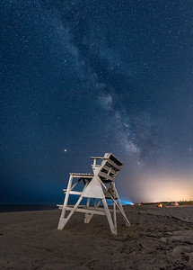 A Lifeguard Stand in Island Beach State Park with the Milky Way Rising 8/10/18