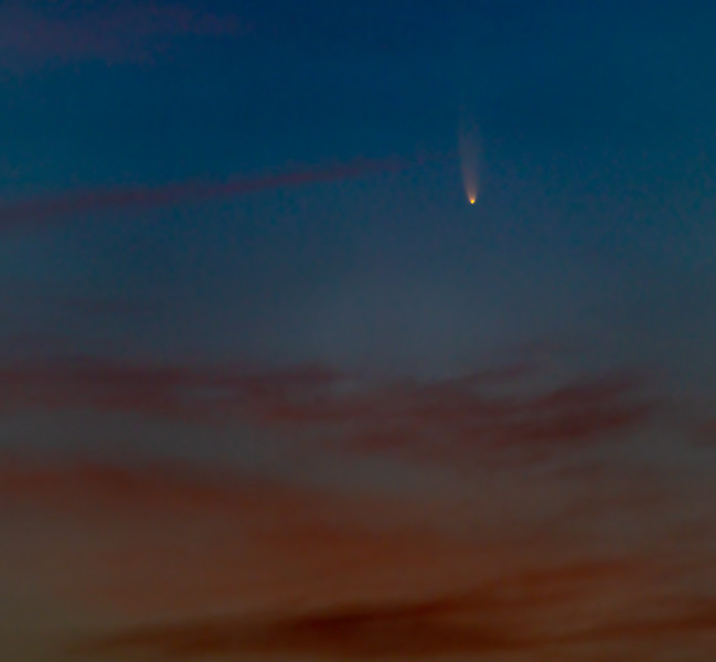 Comet C/2020 F3 NEOWISE Rising Through Predawn Clouds 7/8/20