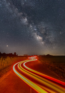 The Milky Way Rising Over Car Trails 7/9/18