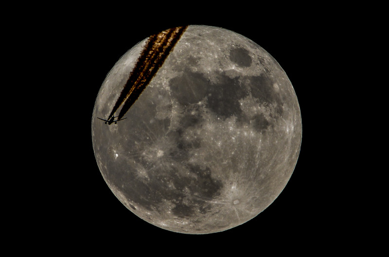Full Moon with Plane Crossing In Front