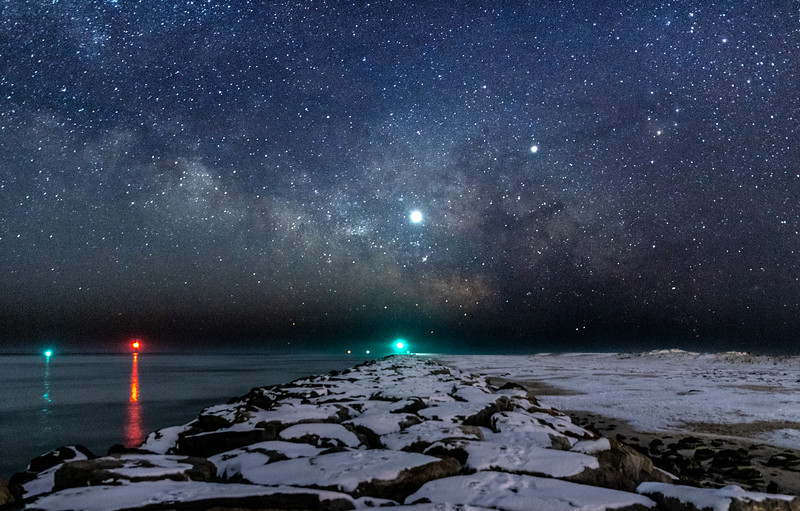 The Milky Way Rising Over Snow-Covered Rock Jetty in Barnegat Light 2/3/19
