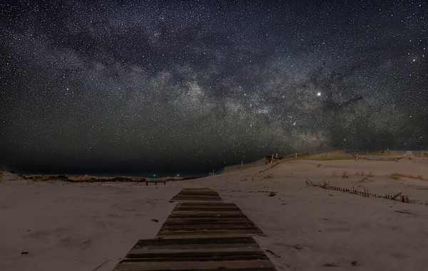 The Milky Way Rising Over Beach Pathway in Barnegat Light 4/11/19