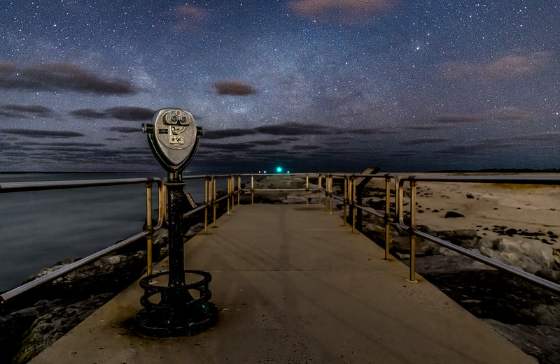 The Milky Way Rising Over The Walkway At The Barnegat Inlet 1/30/20