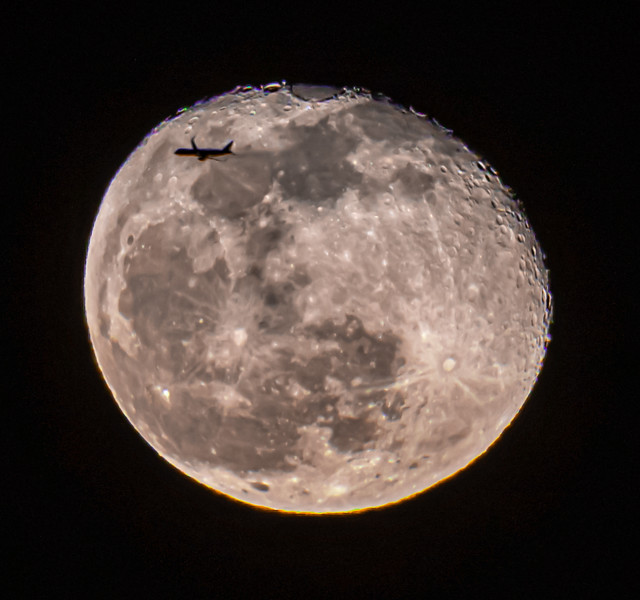 Near Full Moon With Plane Crossing 1/12/20