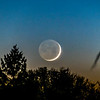 Waxing Crescent Moon Setting On Horizon 11/16/20