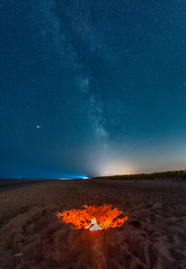 An Abandoned Fire Pit in Island Beach State Park with the Milky Way Rising 8/10/18