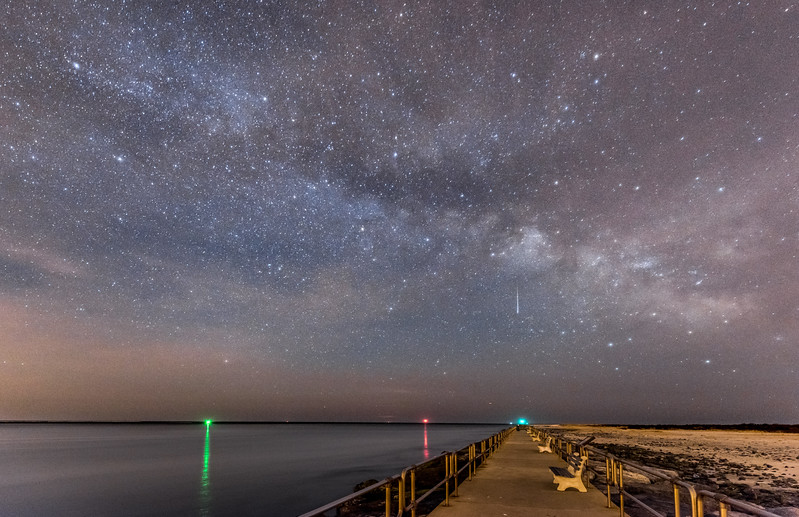 Meteor and Milky Way Over Barnegat Inlet 3/24/17