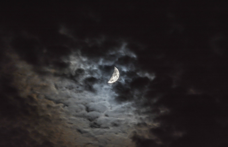 Waxing Crescent Moon in the Clouds