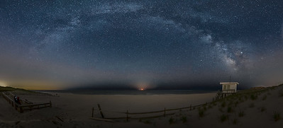 The Moon Rise With The Milky Way Arching Across The Sky Over The Lifeguard Station in Island Beach State Park 4/29/19