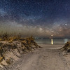 The Milky Way Rising With Venus and Jupiter Rising Over The Beach Dunes in Barnegat Light, NJ 2/10/19