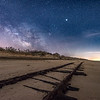 "The Milky Way Rising Over ""Ghost Tracks"" Railroad on Cape May Beach 3/17/18"