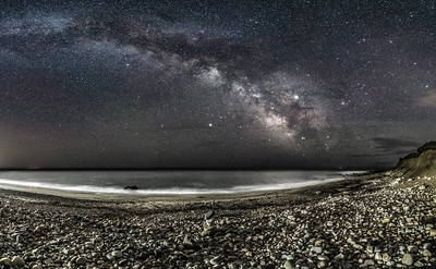 The Milky Way Arching Across The Sky Over A Rocky Beach in Montauk, NY 5/7/19