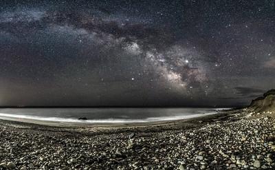 The Milky Way Arching Across The Sky Over A Rocky Beach in Montauk, NY 5/7/19