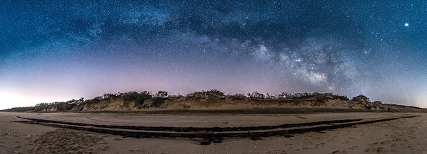 """The Milky Way Arching Over The """"Ghost Tracks"""" Railroad on Cape May Beach 3/17/18"""