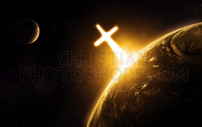 Glowing cross on earth