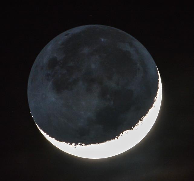 Waxing Crescent Moon with Earthshine 3/11/16