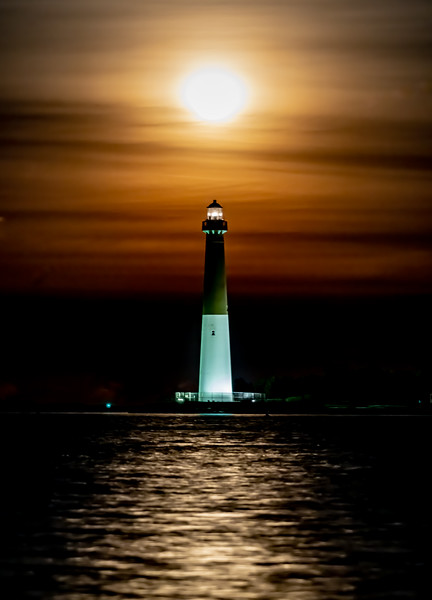 The Full Snow Moon Rising Through Clouds Over The Barnegat Lighthouse 2/9/20