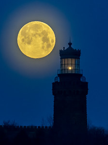 The Full Moon Setting Behind Twin Lights Lighthouse 4/19/19