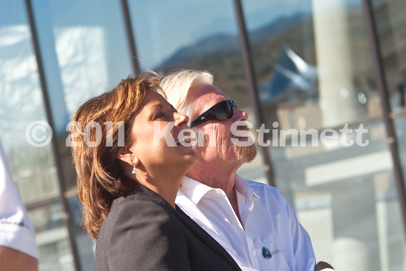 """SpacePort America, Engle, NM.  Hangar Dedication for Virgin Galactic.  Sir Richard Branson, his mother,Eve,  NM Governor Suzanna Martinez, US Rep. Stevan Pearce and more than 100 'prepaid' space tourists and another 500 'invitation only"""" guests gathered at SpacePort America in the NM desert for this unique dedication."""