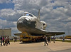 Atlantis begins her final turn on the road into the VAB.