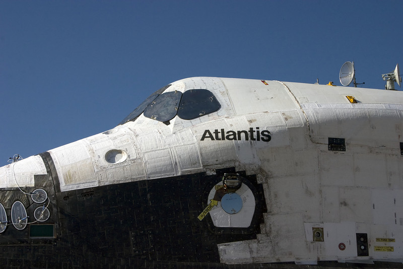 Atlantis shows her wear from the scorching heat of many trips into space.