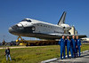 The crew of the final Space Shuttle Mission, STS-135 poses in front of Atlantis for the gathered crowds.