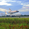 Endeavour and her ride to California taxi by for one final take-off from KSC.