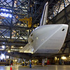 Endeavour waits inside the VAB before her trip the California. The media was given a rare opportunity to spend more than an hour walking around her.