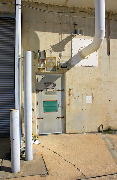 "This is the entrance to on of the air conditioning plants underneath Pad 39A. From here we were able to enter the emergency bunker and ""rubber room""."