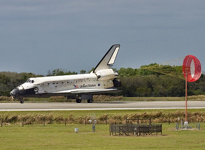 Discovery rolls to a stop after its final landing.