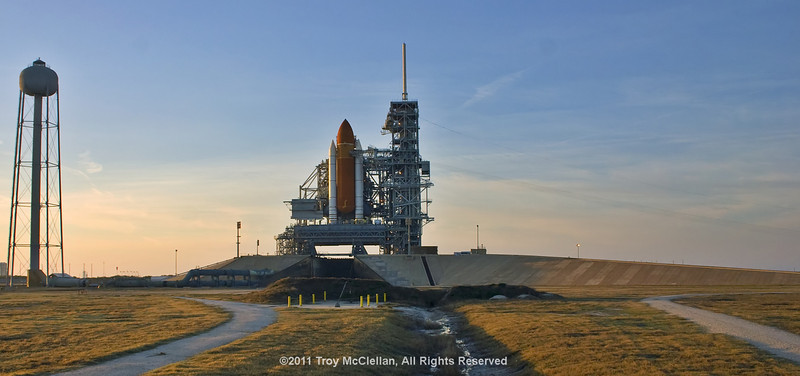 Looking into the flame trench with Discovery on pad 39A for the last time.
