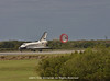 Discovery just after nose gear touchdown on its final landing.