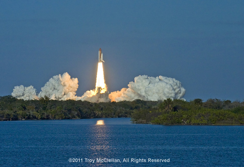 This is a close approximation of the naked eye view of the final launch of Space Shuttle Discovery as seen from the KSC Press Site, 3 miles away from Launch Pad 39A.