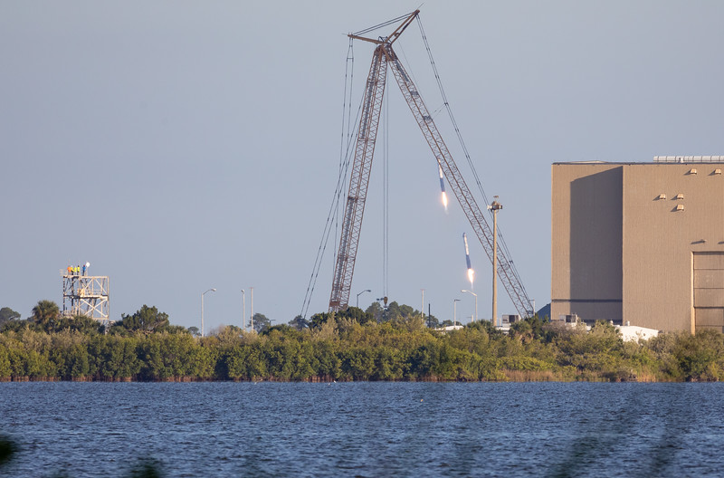 SpaceX Falcon Heavy Boosters Precision Landing at Kennedy Space Center on Merritt Island