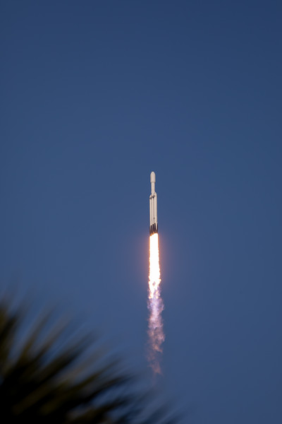 SpaceX Falcon Heavy Initiates Axis Rotation over Pad 39A at Kennedy Space Center on Merritt Island