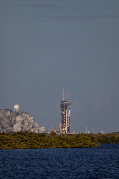 SpaceX Falcon Heavy begins Lift-Off from Pad 39A at Kennedy Space Center on Merritt Island. Distance from Camera to Rocket is Over 3 Miles.