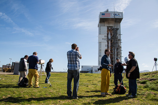 Members of the media set up remote cameras for the launch of Landsat at Vandenberg Air Force Base.
