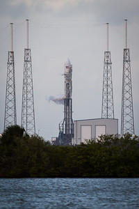 A fully fueled SpaceX Falcon 9 V1.1 rocket sits on the pad at Launch Complex 40 at Cape Canaveral Air Force Station on Monday, November 25th.  The first launch attempt would be scrubbed shortly after due to pressure fluctuations on the first stage liquid oxygen tank. The next launch attempt is scheduled for November 27th with a launch window of 5:39-6:44pm. If Falcon launches, it will be the first Thanksgiving day launch from the cape since 1959. The Falcon 9 will be lofting the SES-8 satellite into a circular orbit, 22,300 miles above the equator and will provide television coverage to South Asia and China.