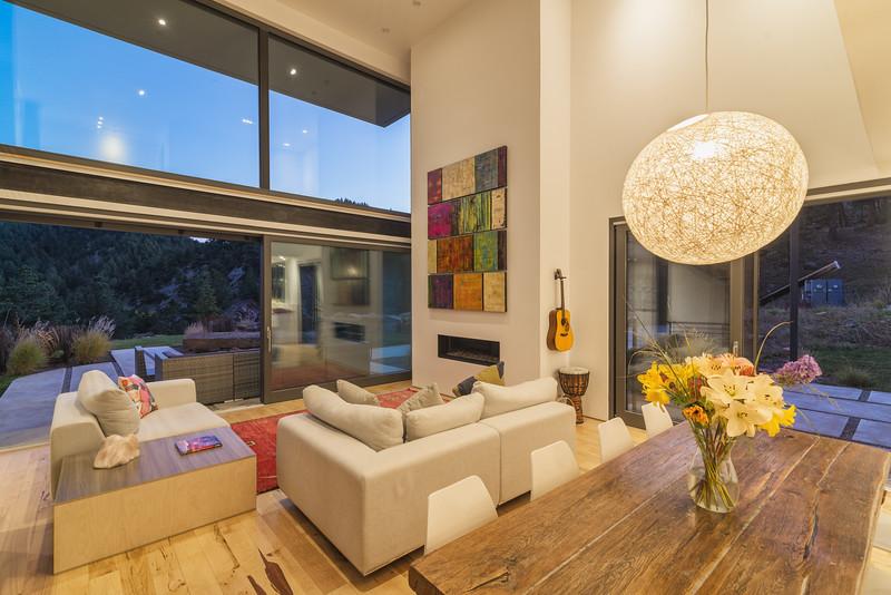 Living Room at twilight, Modern Cube, Boulder- Colorado 2017