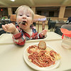 Rollstone Congregational Church in Fitchburg holds a a spaghetti dinner on the second Wednesday of every month as a fundraiser for the church. It is put on by the kitchen committee from the church. Andrew Jolly, 1, enjoys his spaghetti dinner. SENTINEL & ENTERPRISE/JOHN LOVE