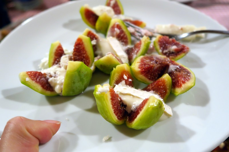Figs with goat cheese. One of my favorite appetizers we had for dinner during our Costa Brava food trip