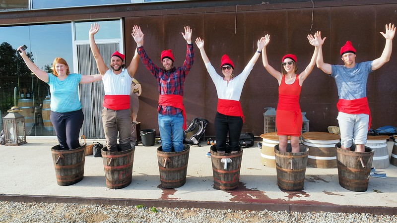 The grape stomping squad at La Vinyeta Cellar (Mollet de Peralada) in Costa Brava